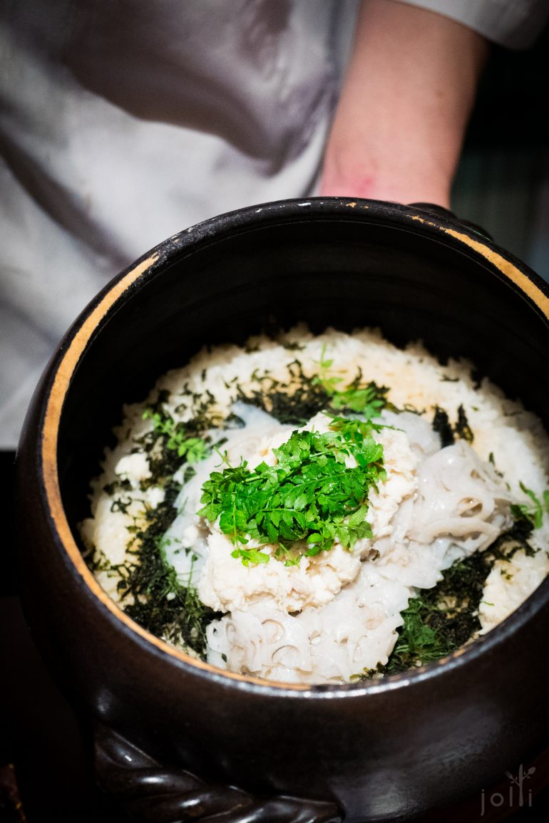 鮃魚、蓮藕、山椒葉及紫蘇葉飯