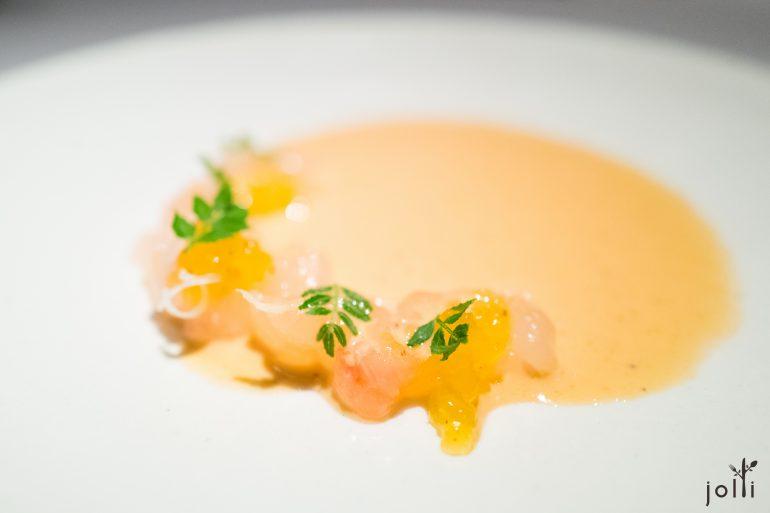刺龙虾-刺龙虾头酱汁-香橙果冻-山椒叶