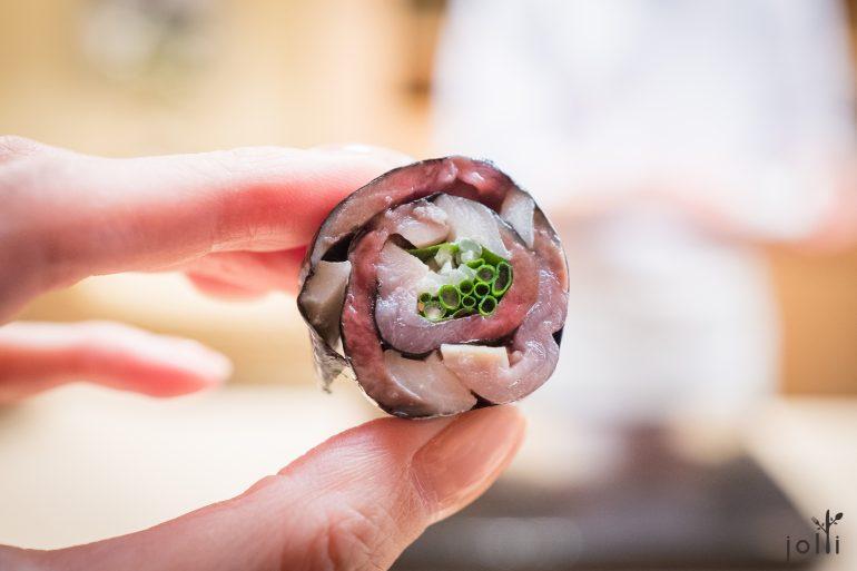 醋渍鲭鱼-大叶-葱-腌姜卷