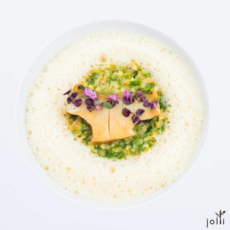黃油煮鮑魚-紫蘇花-小麥海草燉飯-海膽松露泡沫