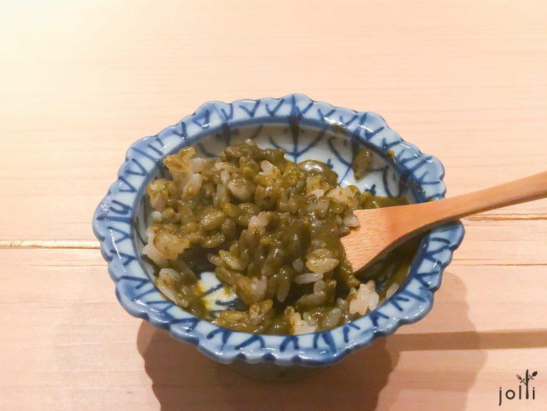 鲍鱼肝酱配醋饭团