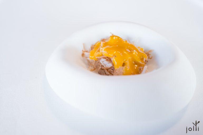 蜘蛛蟹肉及冰沙配蛋黄
