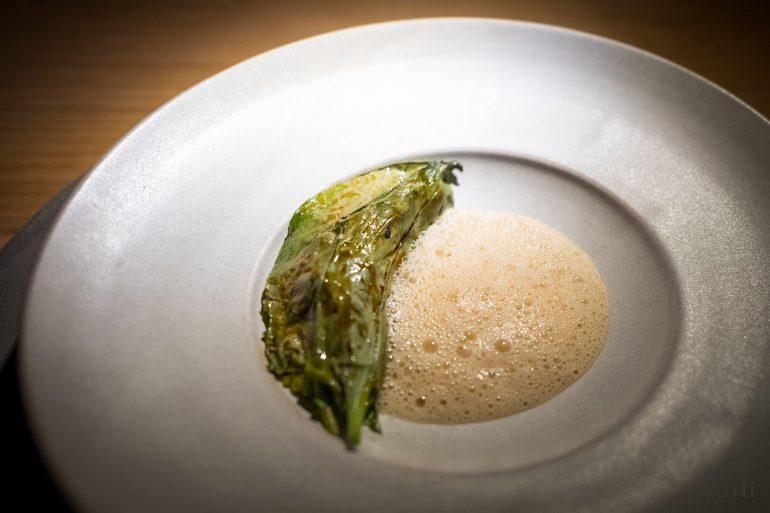 烤酢漿草葉包貽貝糊、馬鈴薯、煙熏鱈魚子