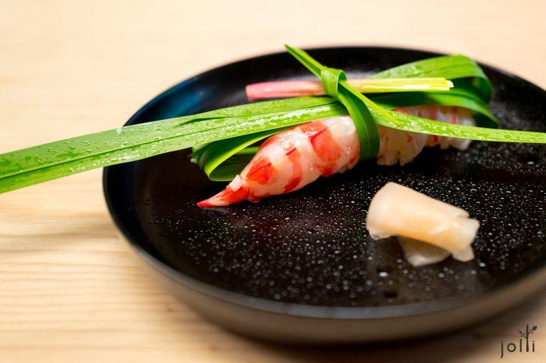 菖蒲葉結明蝦壽司