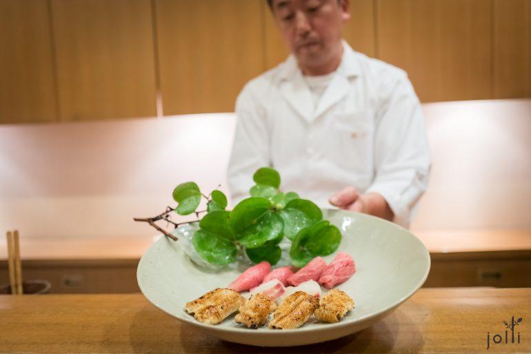大腹、昆布 真鲷及炙海鳗寿司
