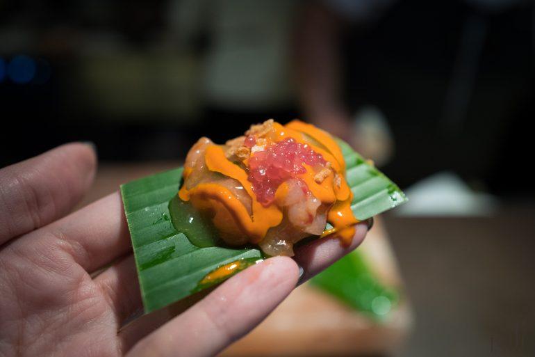 酸橘汁腌明虾-虎之奶-橄榄油蝦头汁-手指香檬