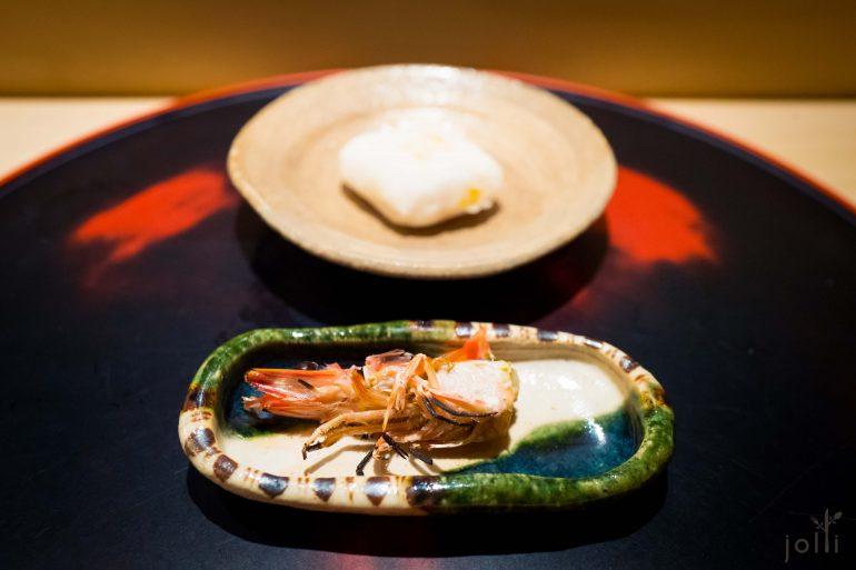 烤虾头及烤乌鱼子糯米团