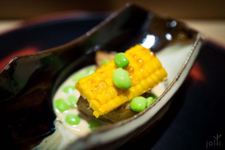 烤玉米配毛豆