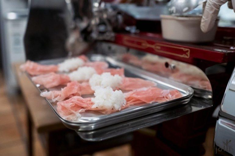 熟成29個月的「Bon Dabon」火腿配米飯