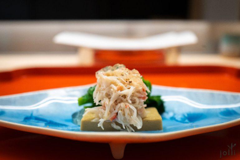 蟹肉配蟹膏豆腐及柚子果冻