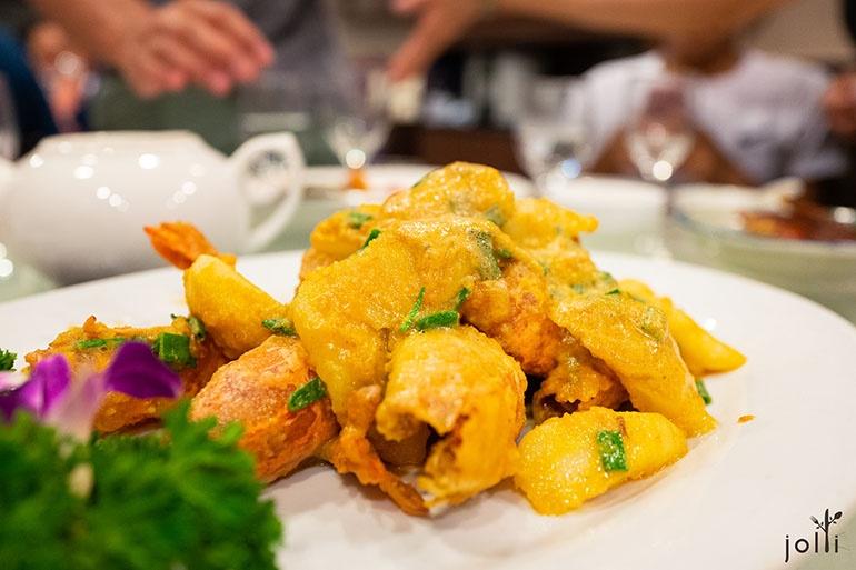 黄金焗中虾年糕