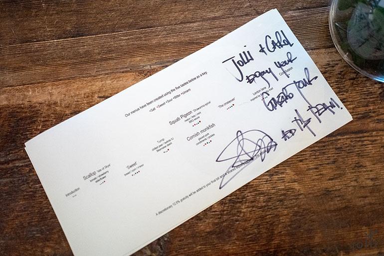 主廚簽名的菜單