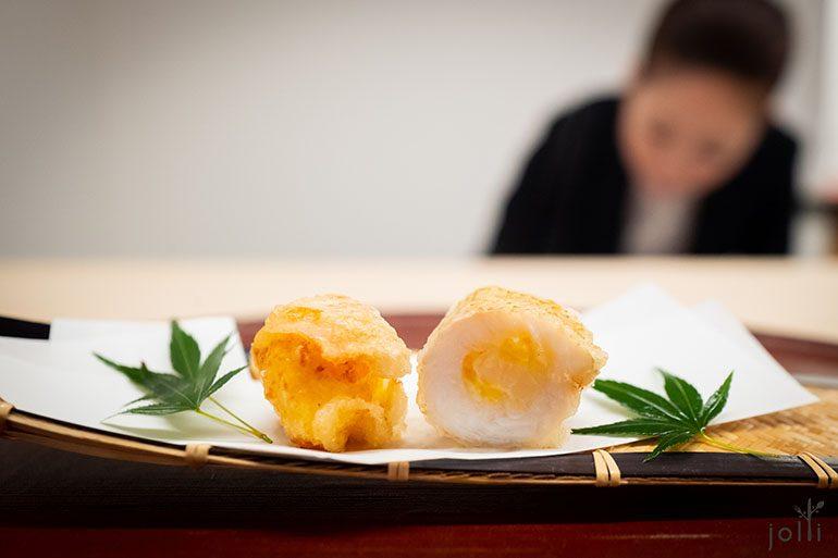 炸青沙鮻酿小虾和玉米