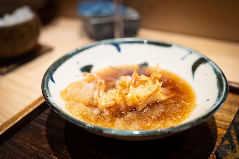 虾头蘸萝卜泥天酱油