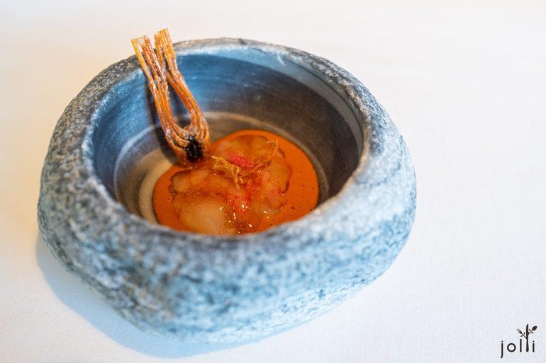 經典的米醋醃大蝦佐蝦頭汁