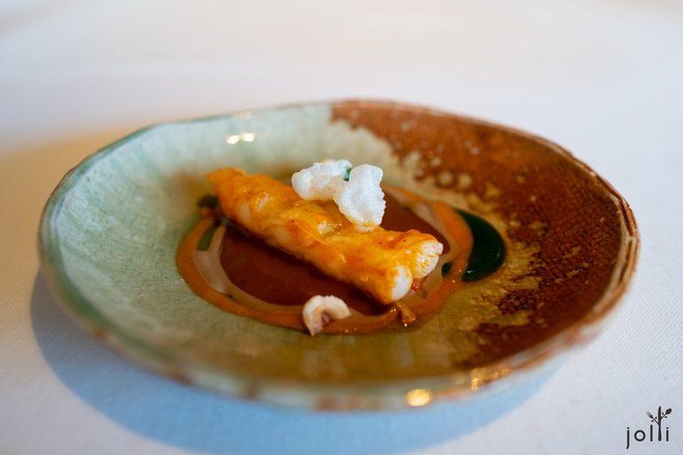 烤海螯蝦配西班牙香腸醬汁