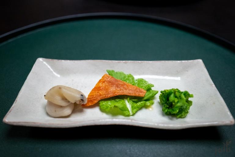 鲍鱼、海参卵巢、油菜花