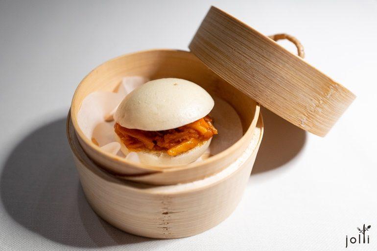 中国包子夹佛罗伦萨式的牛皱胃