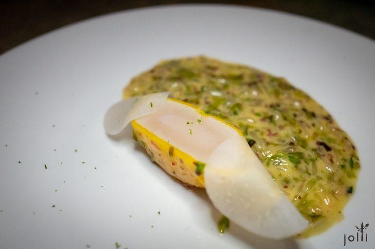 扇貝餛飩配海藻柚子醬汁